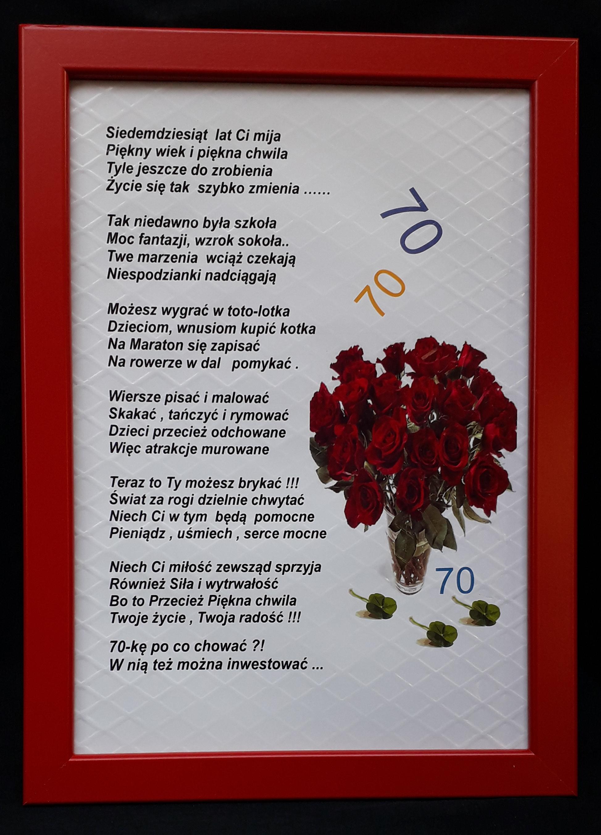 Dyplom 70 życzenia Dla Kobiety Na 70 Kę Ramka